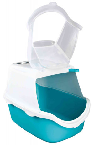 turquoise cat litter tray open