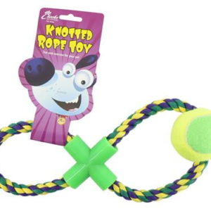 figure 8 rope toy for dogs with ball