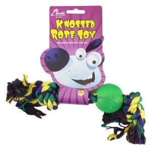 knotted rope toy with ball