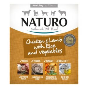 naturo chicken and lamb with rice and veg dog food