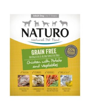 Grain-Free Natural Dog Food with Chicken, Potato and Vegetables.