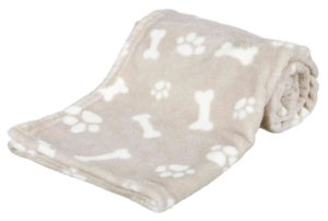 plush beige dog blanket