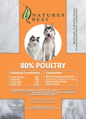 Grain Free 80% Poultry Treat For Cats & Dogs 100g