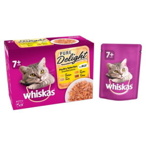 Whiskas 7+ Pure Delight Poultry Selection in Jelly Cat Food 12 x 85g