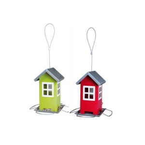 red and green bird feeders.