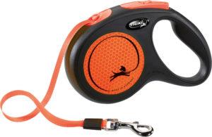 The flexi Neon Reflect Retractable Dog Lead -orange