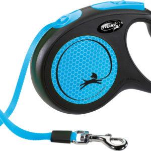 flexi Neon Reflect Retractable Dog Lead blue 5m