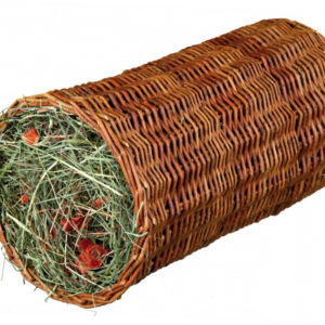wicker tunnel with hay and carrot